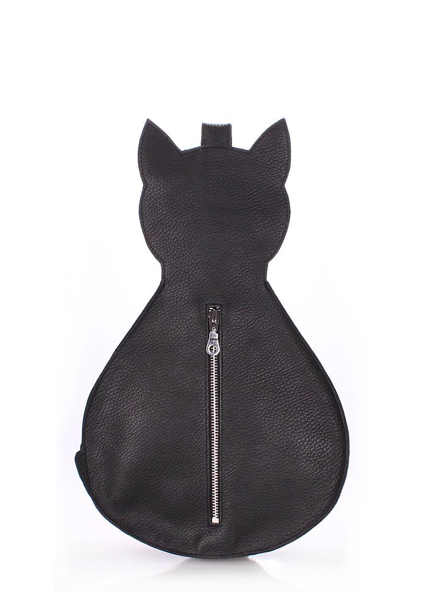 Рюкзак женский кожаный POOLPARTY Cat в форме кота черный