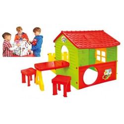 Дитячий ігровий будиночок Mochtoys з терасою + столик + 2 крісла з тунелью № 02