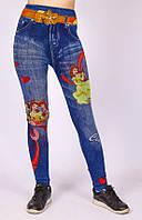 Лосины детские, бесшовные под джинс  с рисунком весна/осень 6 -8 р, фото 1