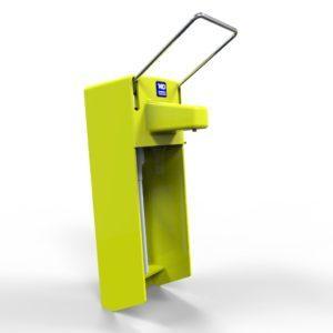 Дозатор ліктевий «МИД-01К» з захисною кришкою і замком. Колір жовтий