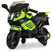 Мотоцикл M 3582EL-5 мотор 15W, аккум6V/4,5AH, колесоEVA,кож.сид, зелен