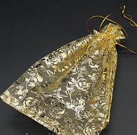 Подарочный пакет из органзы, 17 х 23 см, 1 шт., цвет золото