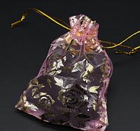 Подарочный пакет из органзы, 9 х 12 см, 1 шт., цвет розовый
