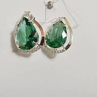 Серебряные серьги с зеленым кубическим цирконием Сесилия, фото 1