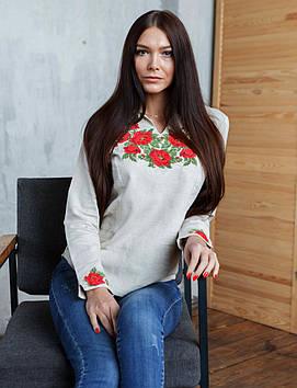 Вишита жіноча сорочка бежева (розміри S-3XL)