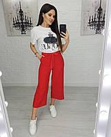 Стильные женские укороченные брюки кюлоты красный