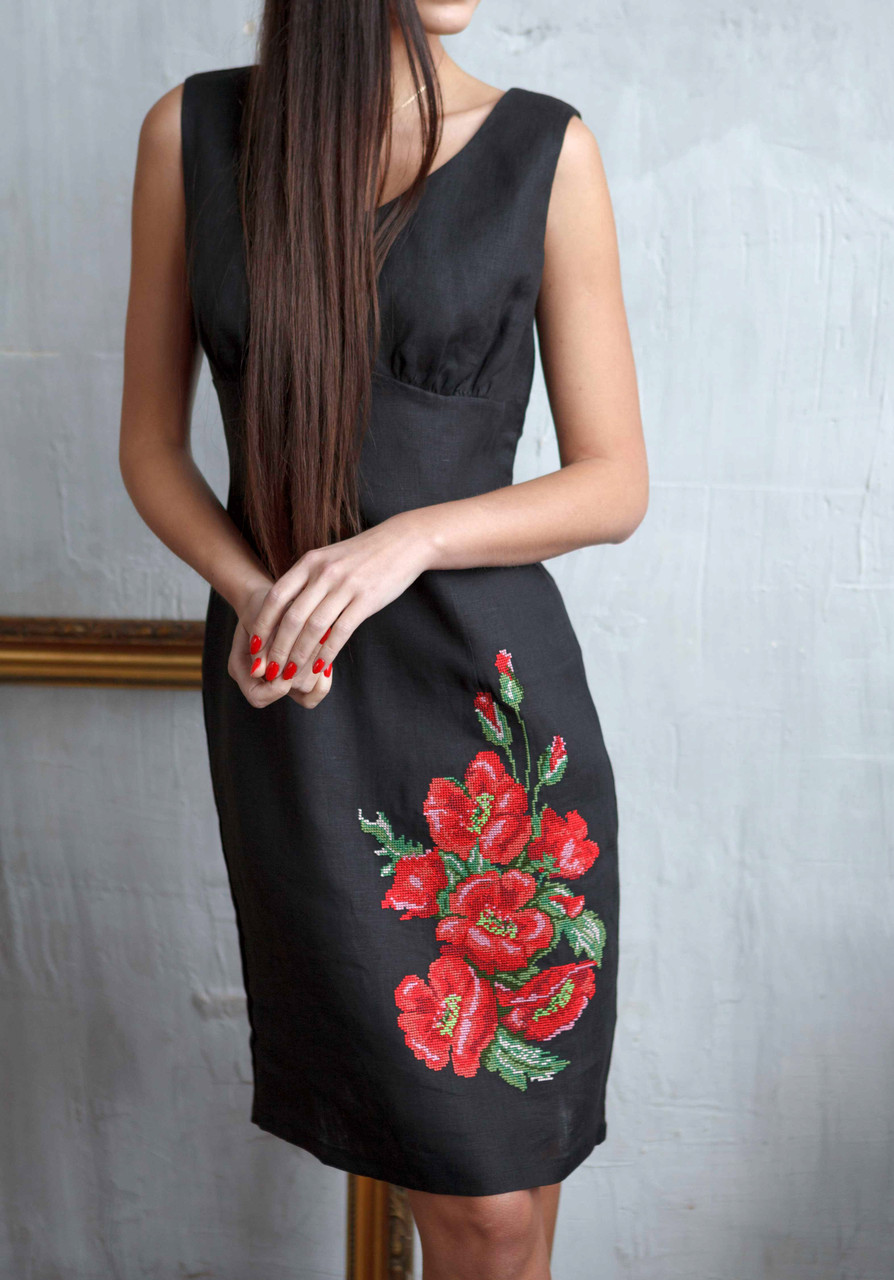 Платье-вышиванка из льна Маки (XS-2XL в расцветках)