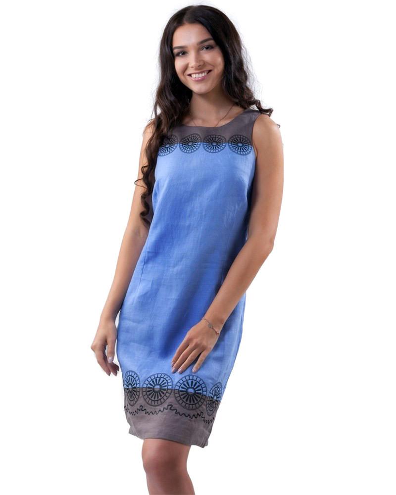 Красивое льняное платье с вышивкой (XS-2XL в расцветках)