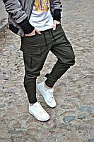 Штаны WOW мужские с большими карманами зауженые Качество LUX Зеленые