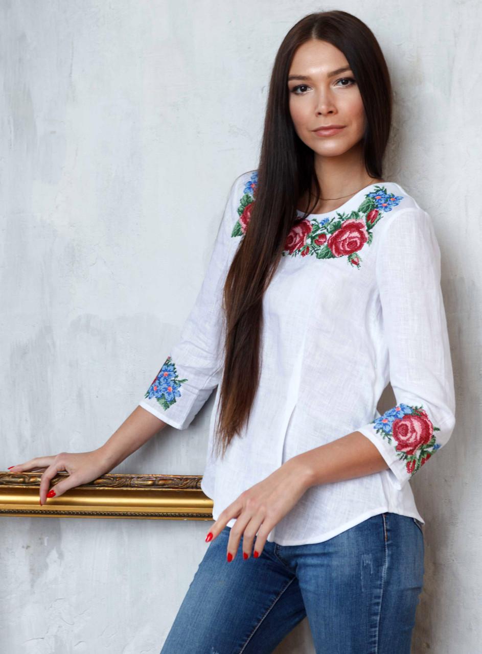 Красивая вышитая блуза Розы (размеры S-3XL в расцветках)