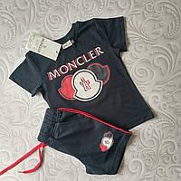 Летний детский комплект Moncler футболка и шорты, фото 1