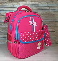 Детский рюкзак розовый с ортопедической спинкой и пеналом, школьный ранец, портфель для девочки 1-2 класс