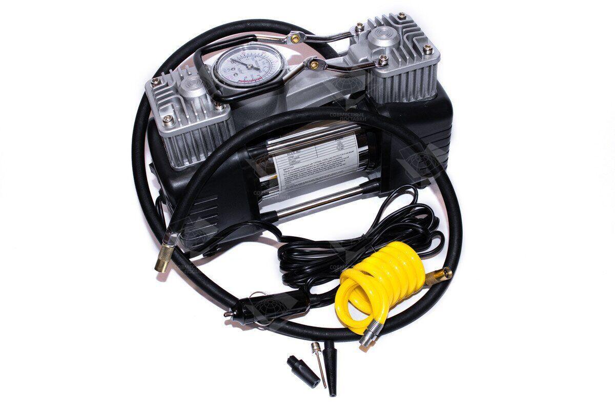 Компрессор автомобильный КВАНТ 13005B 12В двухпоршневой с аналоговым датчиком давления