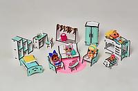 """Набор мебели NestWood """"СПАЛЬНЯ+ГОСТИНАЯ+ДЕТСКАЯ"""" для кукол Лол (LOL), 12ед. мятный"""