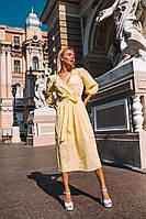 Женское красивое легкое платье с запахом га груди и длинным рукавом миди длина