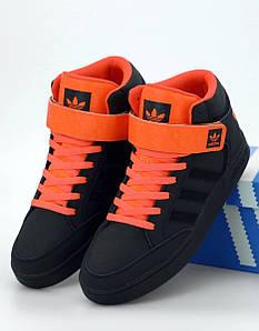Мужские кроссовки Adidas Varial Mid Black Orange (Адидас Вариал)
