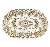 Овальная салфетка Supretto с золотым декором 45 х 30 см (5155)