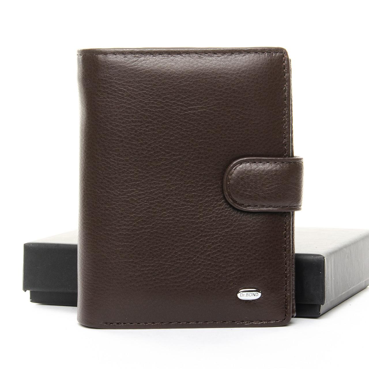 Натуральная кожаный мужской кошелек Dr.BOND М24 коричневый