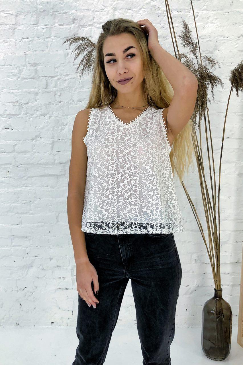Летняя блузка без рукавов Rong Rong - белый цвет, L (есть размеры)
