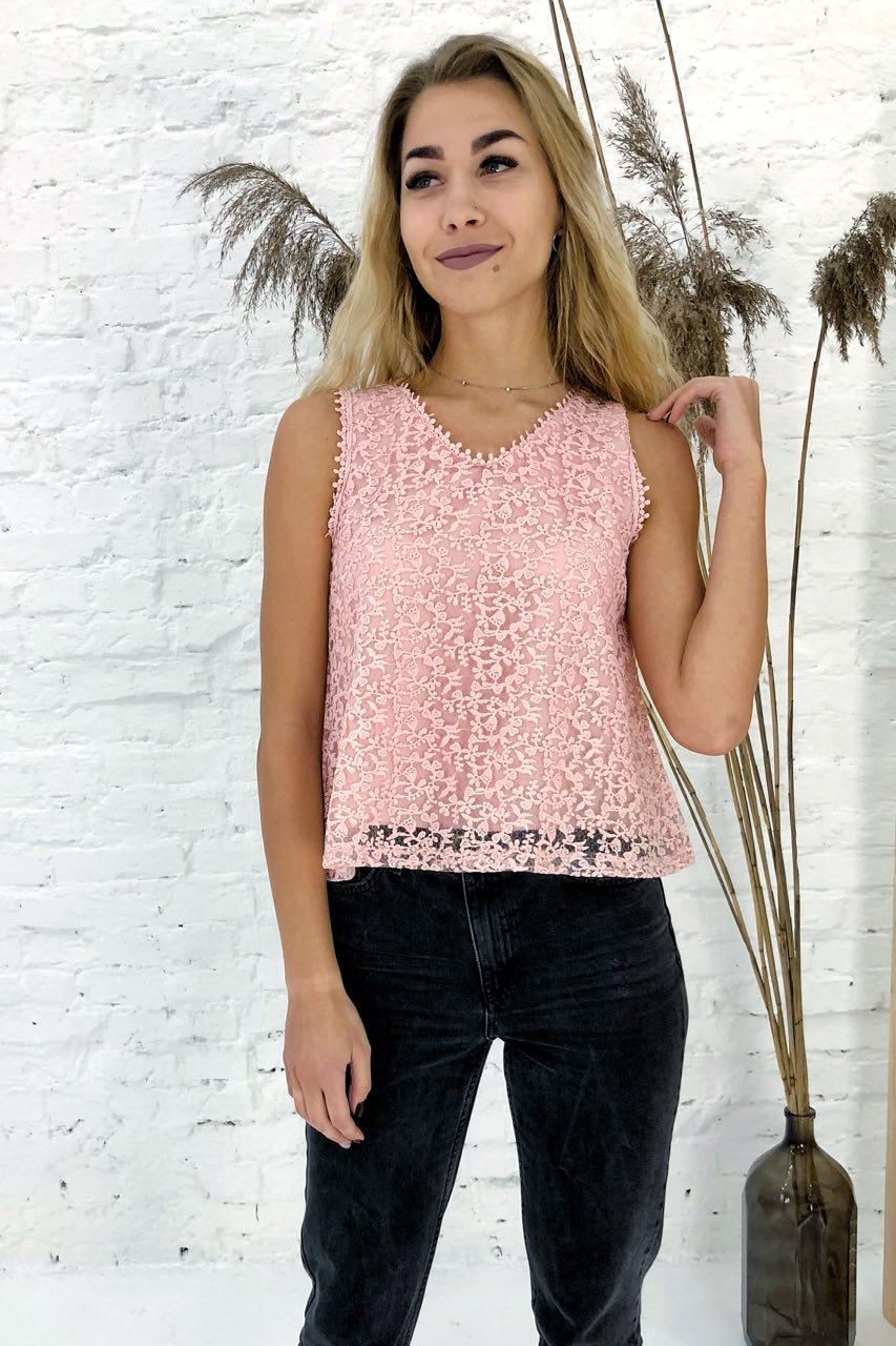 Летняя блузка без рукавов Rong Rong - пудра цвет, L (есть размеры)