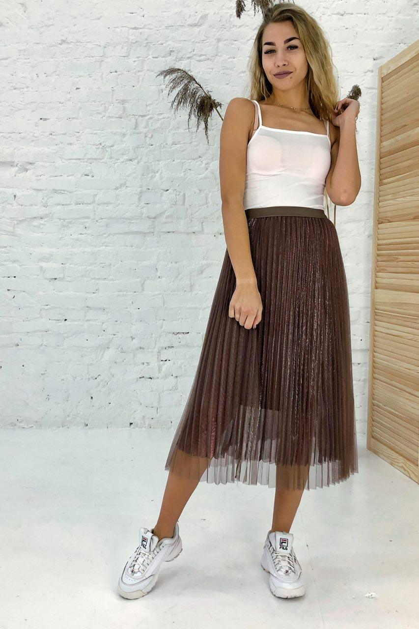 Трехслойная юбка плиссе из фатина люрекс LUREX - коричневый цвет, S (есть размеры)