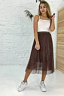Трехслойная юбка плиссе из фатина люрекс LUREX - коричневый цвет, S (есть размеры), фото 1