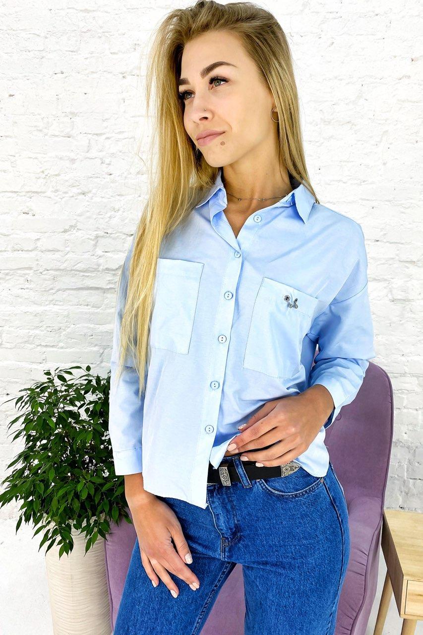 Элегантная рубашка с накладными карманами Crep - голубой цвет, L (есть размеры)