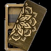 Шкатулка  для бисера прямоугольная с деревянной крышкой Мандала 2 отделения