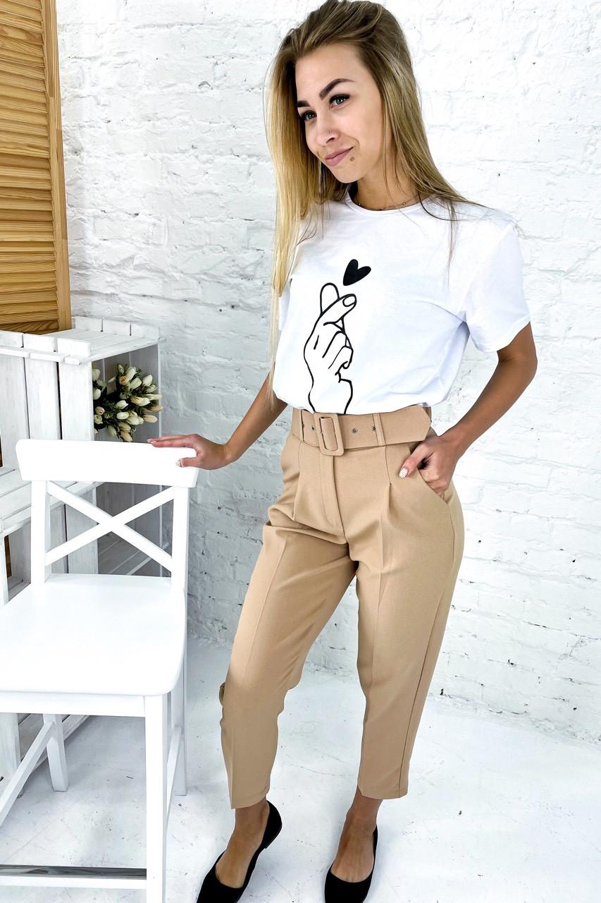 Трендовые брюки с высокой талией и поясом  PERRY - бежевый цвет, L (есть размеры)