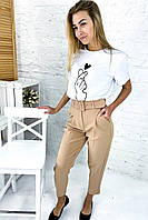 Трендовые брюки с высокой талией и поясом  PERRY - бежевый цвет, XL (есть размеры), фото 1