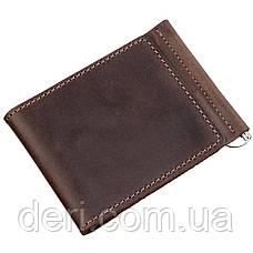 Солидный кожаный зажим для денег GRANDE PELLE 11197 Коричневый, Коричневый, фото 2