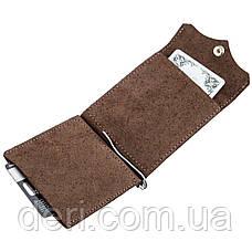 Солидный кожаный зажим для денег GRANDE PELLE 11197 Коричневый, Коричневый, фото 3