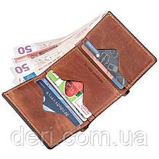 Строгое портмоне унисекс на магните коричневый GRANDE PELLE, фото 3