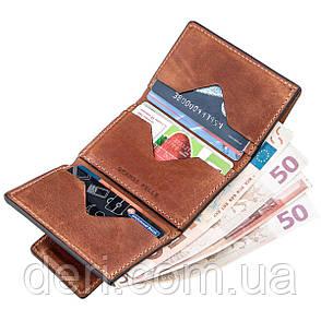 Строгое портмоне унисекс на магните коричневый GRANDE PELLE, фото 2