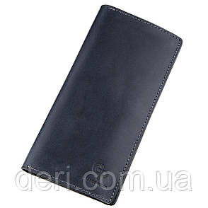 Вместительный вертикальный бумажник унисекс на магните GRANDE PELLE синий, фото 2