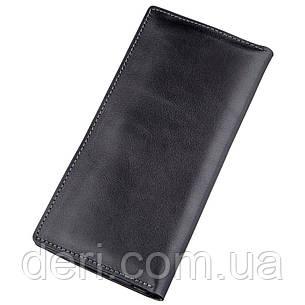Вертикальный практичный бумажник унисекс на магните черный GRANDE PELLE, фото 2