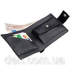 Компактное мужское портмоне в винтажном стиле с монетницей внутри, фото 2