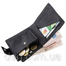 Компактное мужское портмоне в винтажном стиле с монетницей внутри, фото 3