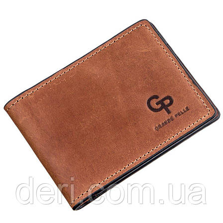 Компактный зажим для денег без застежки GRANDE PELLE 11240 Коричневый, Коричневый, фото 2