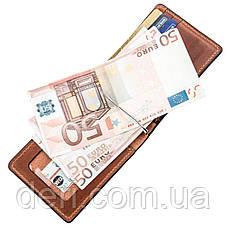 Компактный зажим для денег без застежки GRANDE PELLE 11240 Коричневый, Коричневый, фото 3