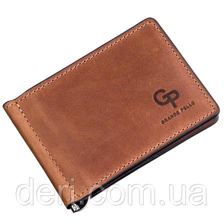 Компактный зажим для денег без застежки GRANDE PELLE 11241 Коричневый, Коричневый, фото 2