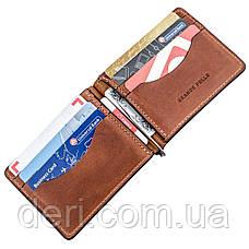 Компактный зажим для денег без застежки GRANDE PELLE 11241 Коричневый, Коричневый, фото 3
