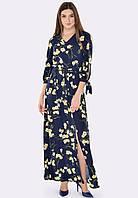 Тёмно-синее платье макси с цветочным принтом 5582, 42