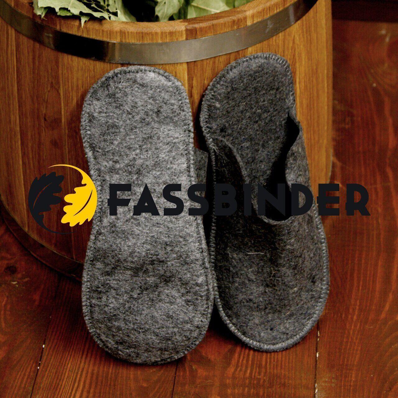 Тапки для бани и сауны большие классические Fassbinder™, серый войлок 7trav