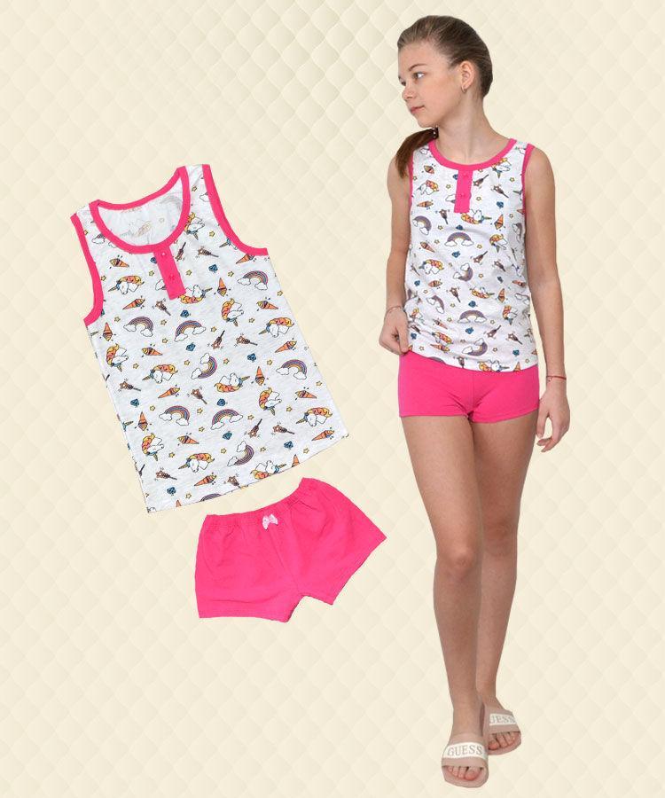 Пижама для девочки Единорог серая: майка + шорты стрейч-кулир