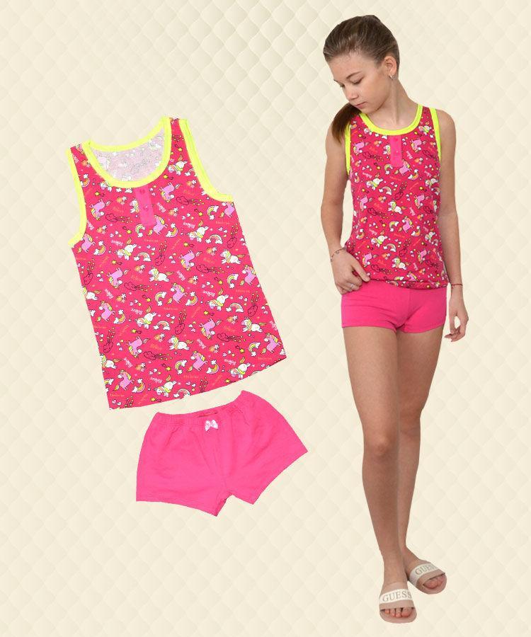 Пижама для девочки Единорог малина: майка + шорты стрейч-кулир