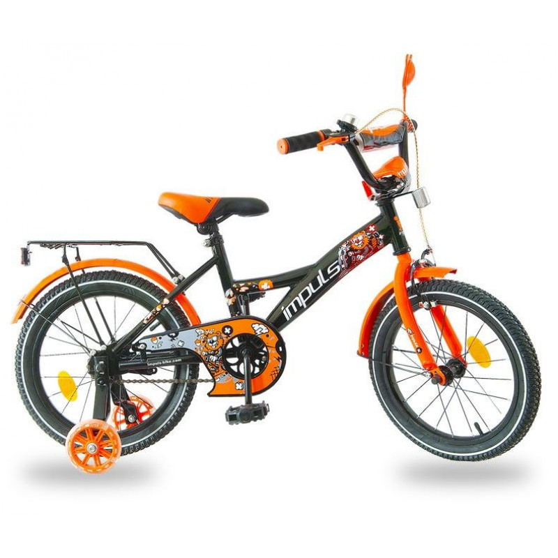 Велосипед детский, 14 д. цвет черно-оранжевый IMPULS