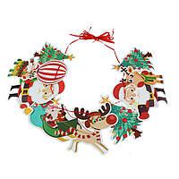 Бумажная новогодняя гирлянда Дед мороз с оленем (5344-0002)