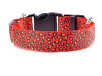 Светящийся светодиодный ошейник для собак Леопард М 40-48см Красный, фото 1