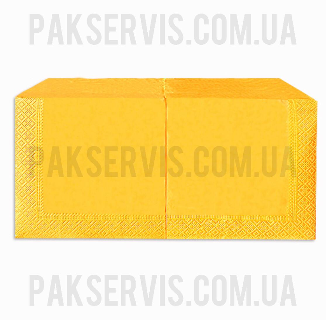 Салфетки 33х33 желтый-грейпфрут 200шт. 2слоя 1/4